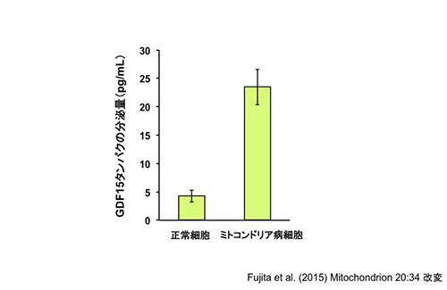 図4:ミトコンドリア病細胞はGDF15タンパクの放出量が増加している