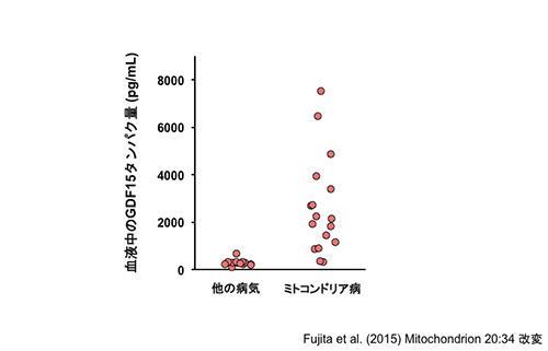 図5:ミトコンドリア病患者の血液中でGDF15タンパクが増加している
